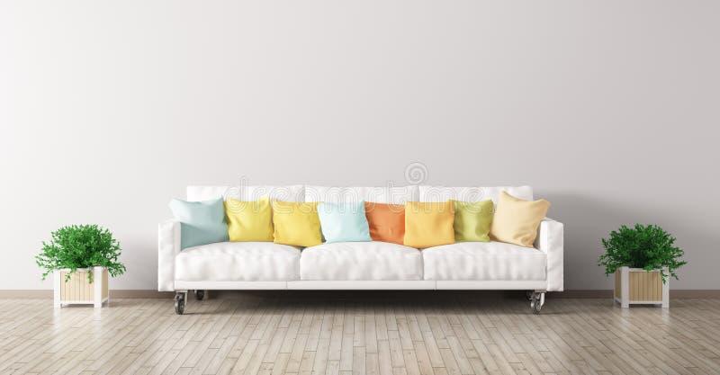 Современный интерьер живущей комнаты с белой софой 3d представляет иллюстрация штока