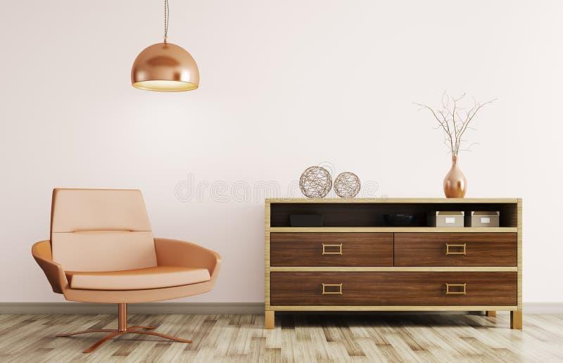 Современный интерьер живущей комнаты с деревянными дрессером и recliner иллюстрация вектора