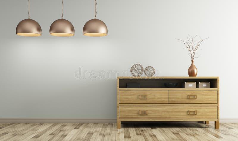 Современный интерьер живущей комнаты с деревянным переводом дрессера 3d иллюстрация штока