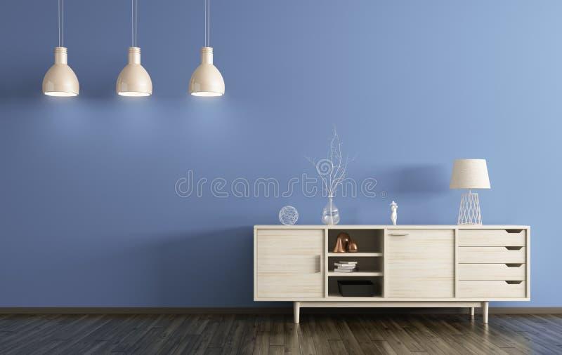 Современный интерьер живущей комнаты с деревянным переводом дрессера 3d бесплатная иллюстрация