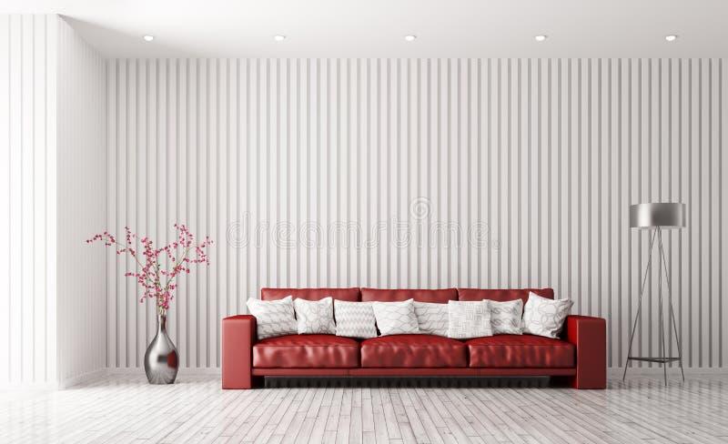 Современный интерьер живущей комнаты с красным переводом софы 3d бесплатная иллюстрация