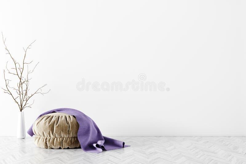 Современный интерьер живущей комнаты с переводом pouf 3d бесплатная иллюстрация