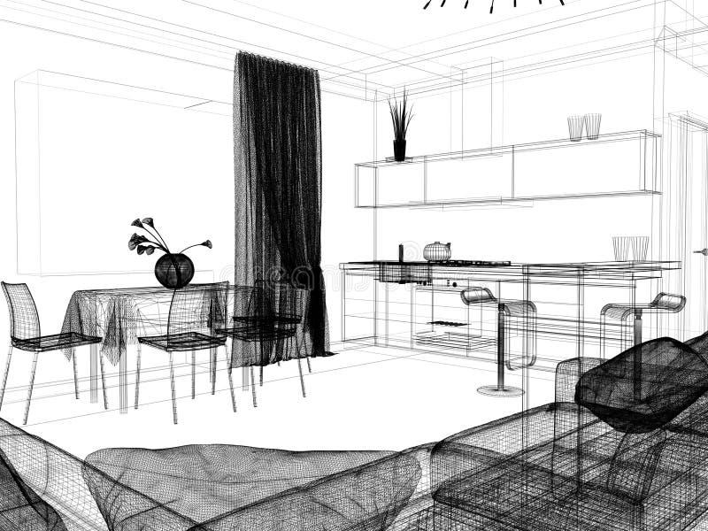Современный интерьер живя комнаты, перевода 3 d иллюстрация штока