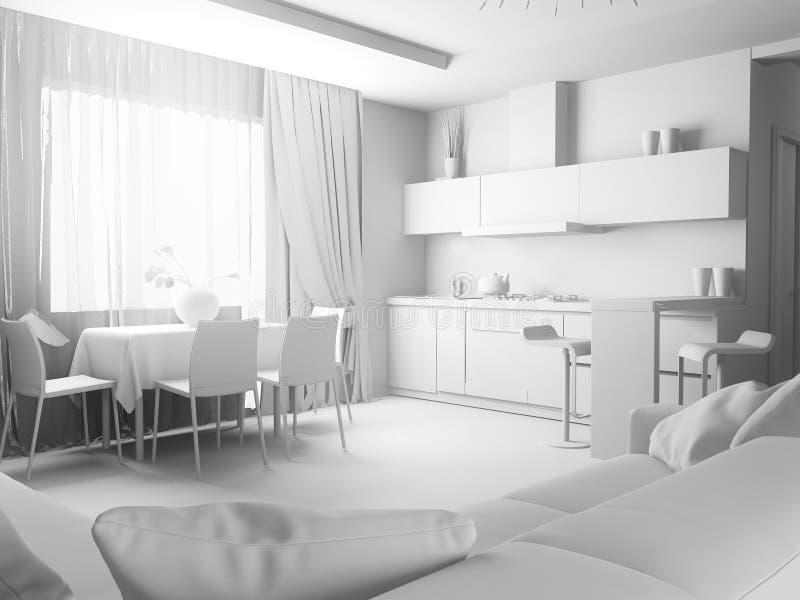 Современный интерьер живя комнаты, перевода 3 d иллюстрация вектора