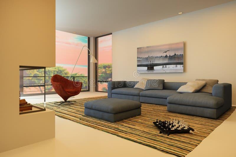 Современный интерьер живя комнаты иллюстрация штока