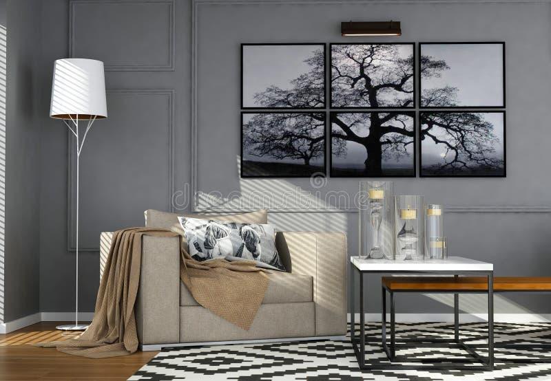 Современный интерьер живя комнаты иллюстрация вектора