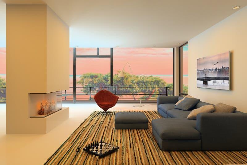 Современный интерьер живя комнаты бесплатная иллюстрация