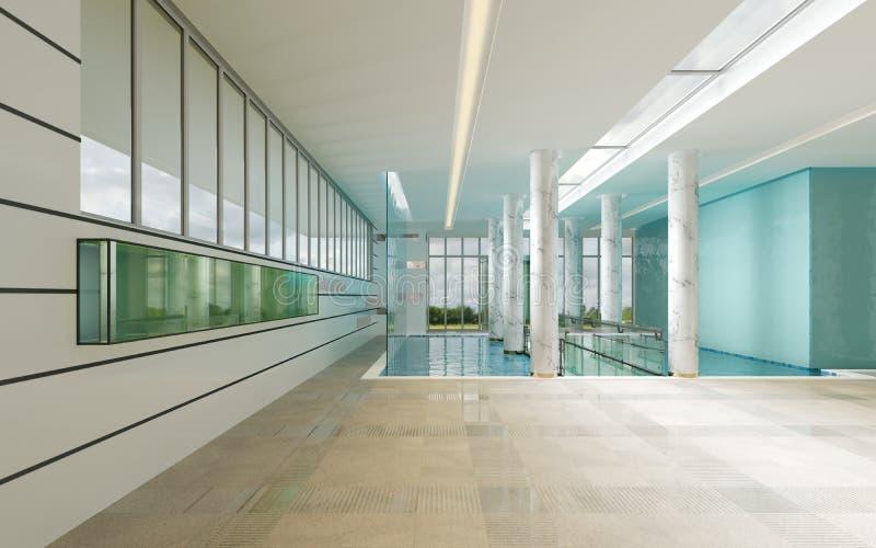 Современный интерьер зала ожидания спа гостиницы иллюстрация вектора