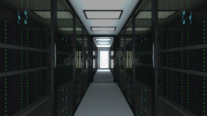 Современный интерьер комнаты сервера в datacenter, сети сети и технологии радиосвязи интернета, большом хранении данных и иллюстрация штока