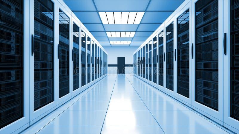 Современный интерьер комнаты сервера в datacenter, сети сети и технологии радиосвязи интернета, большом хранении данных и иллюстрация вектора