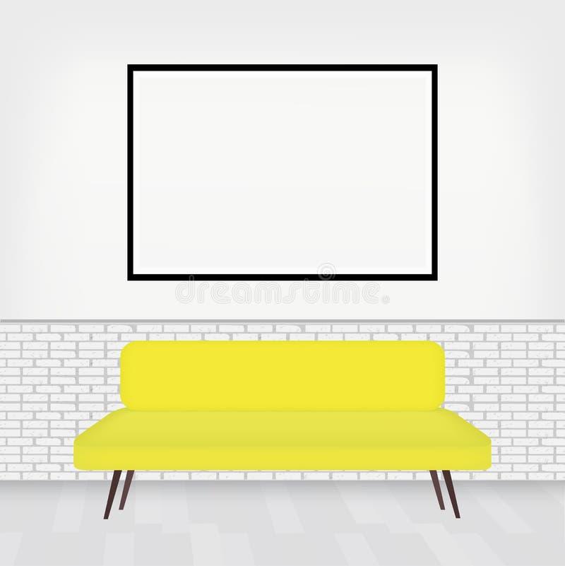Современный интерьер комнаты со стильной софой и большой рамки pictur для вашего дизайна Белая кирпичная стена в уютной комнате r иллюстрация штока