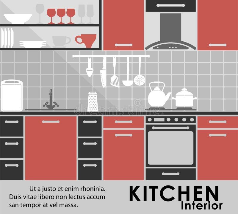 Современный интерьер кухни в плоском стиле иллюстрация штока