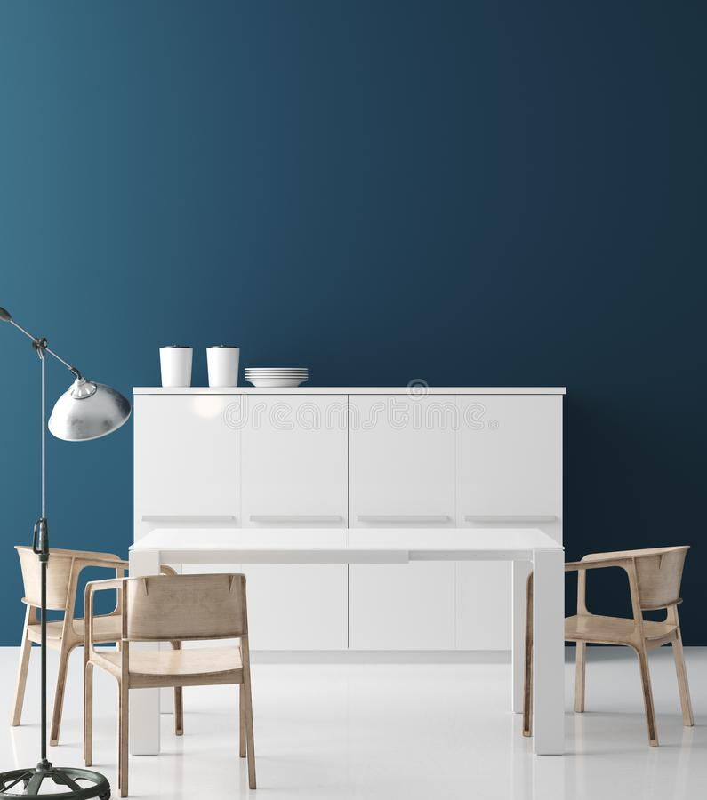 Современный интерьер кухни, насмешка стены вверх, современный стиль иллюстрация вектора