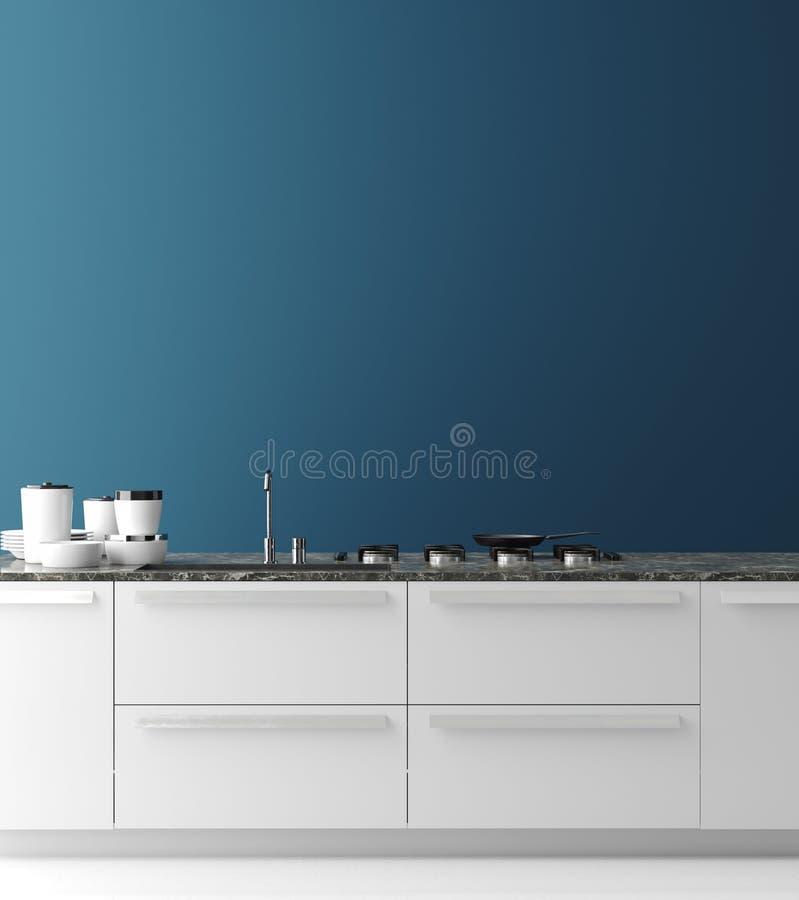 Современный интерьер кухни, насмешка стены вверх, современный стиль бесплатная иллюстрация