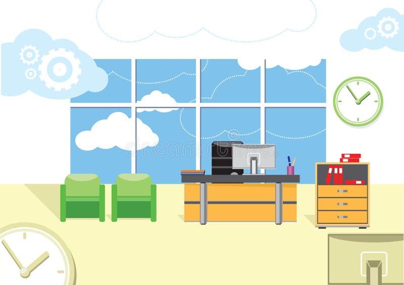 Современный интерьер офиса с дизайнерским настольным компьютером иллюстрация вектора