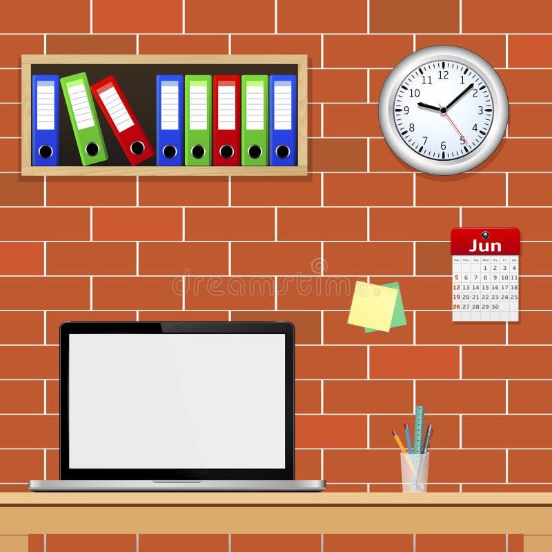 Современный интерьер офиса с дизайнерским настольным компьютером бесплатная иллюстрация