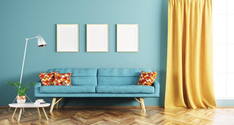 Современный интерьер перевода живущей комнаты 3d иллюстрация вектора