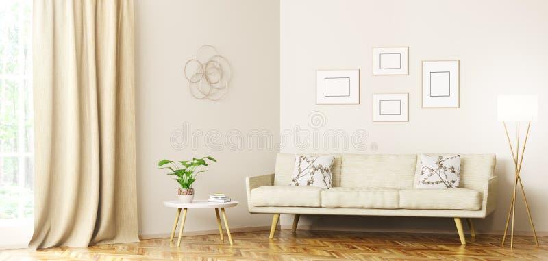 Современный интерьер перевода живущей комнаты 3d бесплатная иллюстрация
