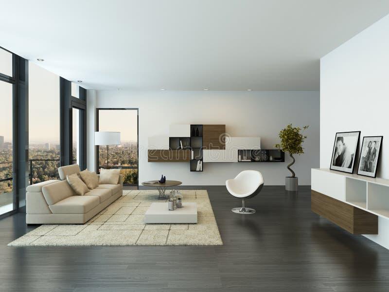 Современный интерьер просторной квартиры живущей комнаты стоковая фотография