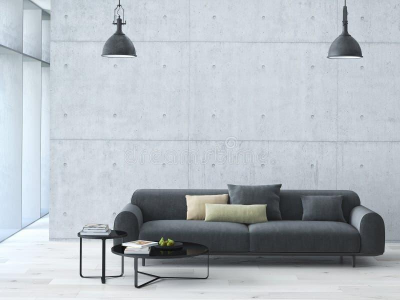 Современный интерьер просторной квартиры живущей комнаты стоковое изображение rf
