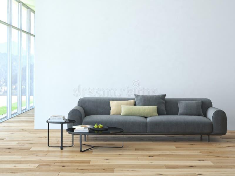 Современный интерьер просторной квартиры живущей комнаты стоковое фото