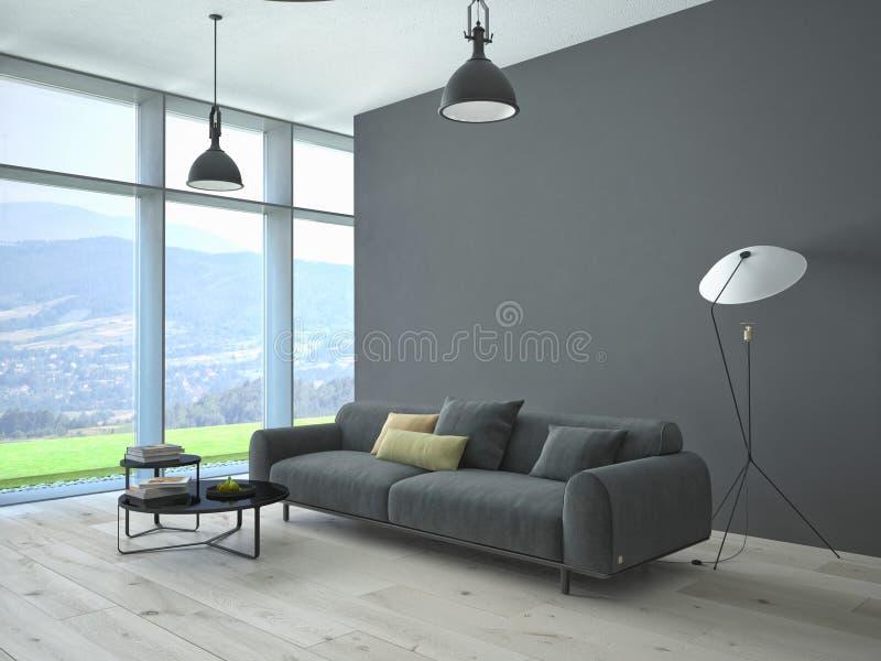 Современный интерьер просторной квартиры живущей комнаты стоковые фото