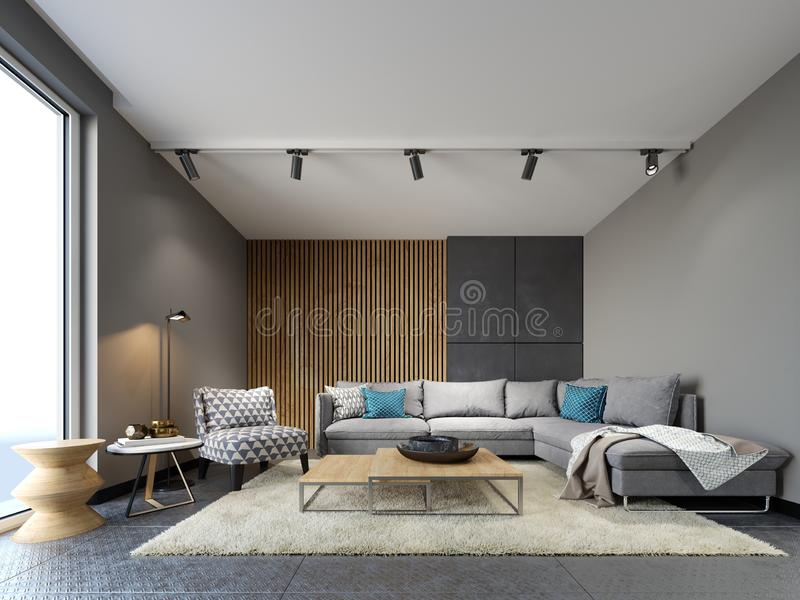 Современный интерьер просторной квартиры живя комнаты, серой софы и красочных подушек на настиле металла и темных планках бетонно иллюстрация штока