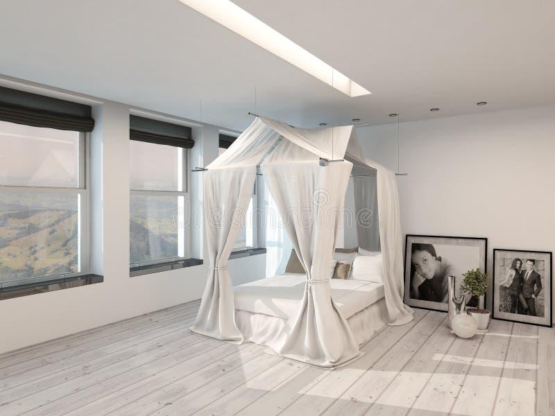 Современный интерьер спальни с кроватью 4 плакатов иллюстрация вектора