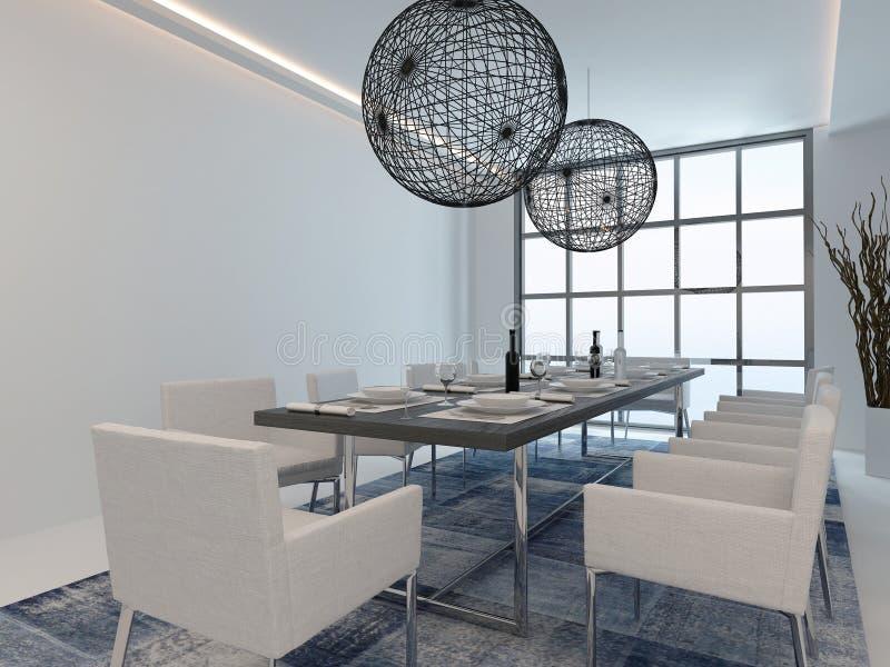 Современный интерьер столовой с сервировкой стола бесплатная иллюстрация