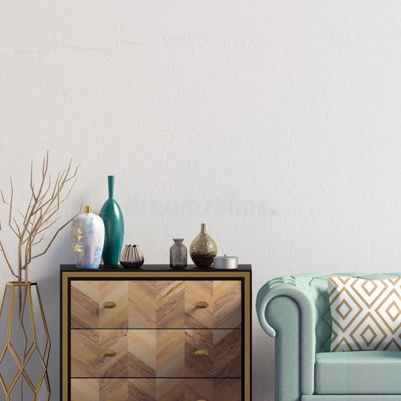 Современный интерьер с дрессером и стулом насмешка стены вверх illustr 3d иллюстрация штока