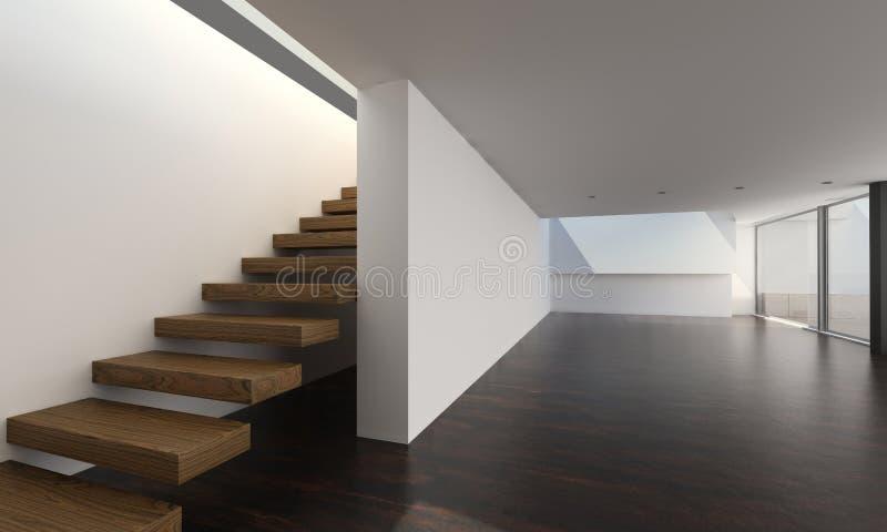 Современный интерьер с деревянными лестницами | Внутренняя архитектура стоковое изображение