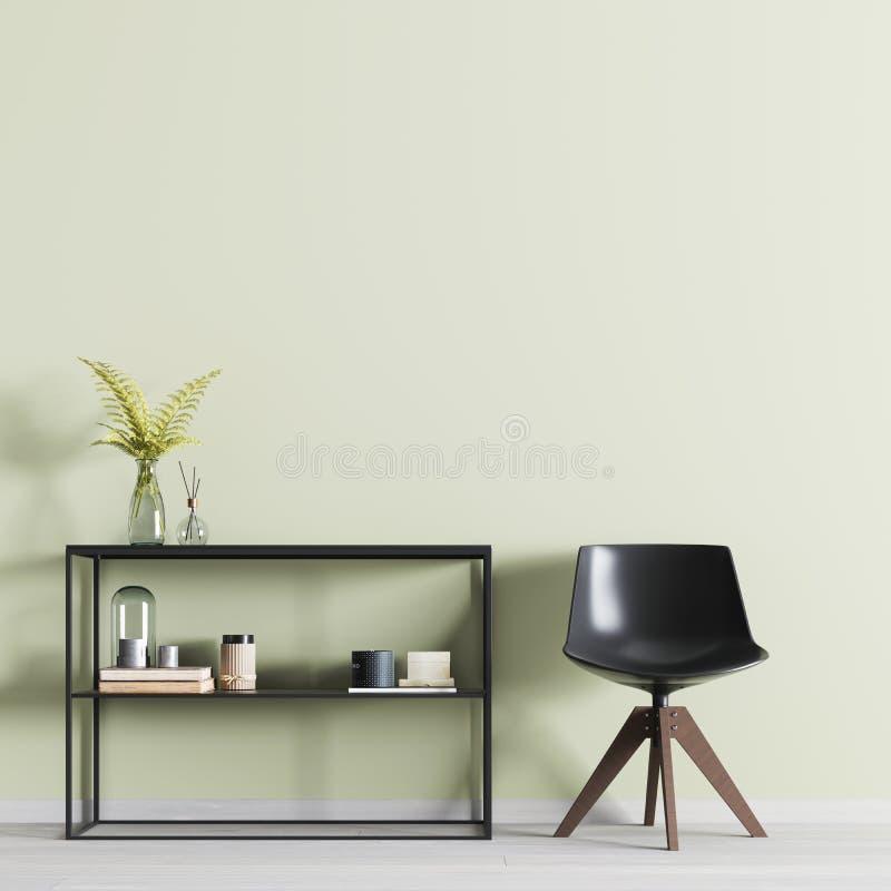 Современный интерьер с пустой стеной для модель-макета с полками с оформлением и стулом в комнате иллюстрация штока