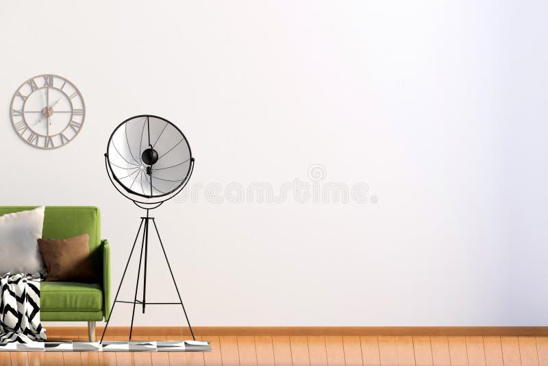 Современный интерьер с софой и лампой насмешка стены вверх illustratio 3D иллюстрация вектора