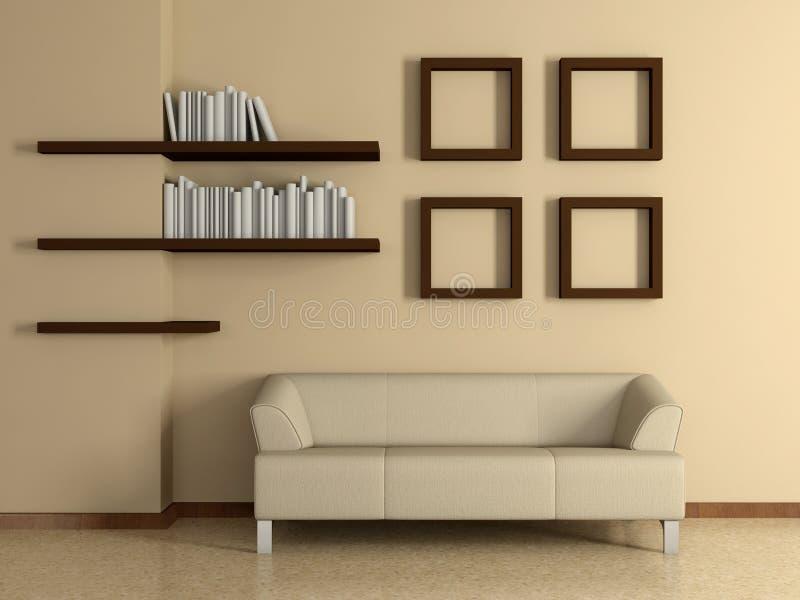 Современный интерьер с софой, книжными полками. 3D. иллюстрация штока
