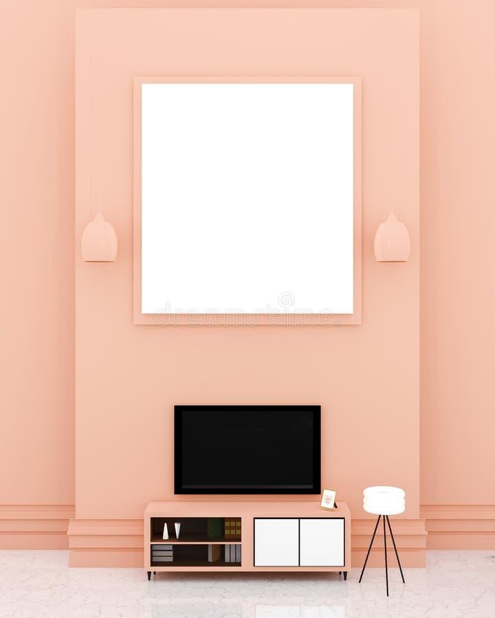 Современный интерьер ТВ-зала с большой белой доской на верхней оранжевой стене иллюстрация вектора