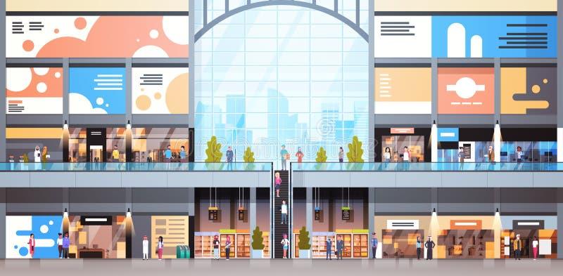 Современный интерьер торгового центра с магазином розничной торговли много людей большим иллюстрация вектора