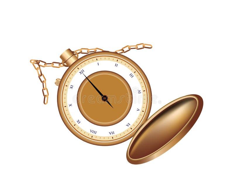 Современный карманный изолированный вахта в цвете золота иллюстрация вектора