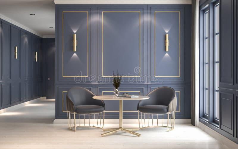 Современный классический интерьер с креслами и журнальным столом, decorat стоковое фото rf