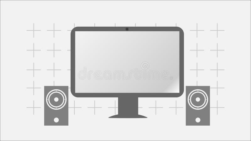Современный компьютер и громкоговорители Плоский дизайн Серый экран Панель LCD иллюстрация штока