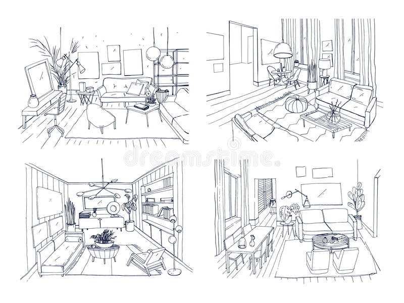 Современный комплект интерьера живущей комнаты Поставленное собрание гостиной Эскиз иллюстрации вектора контура на свете бесплатная иллюстрация