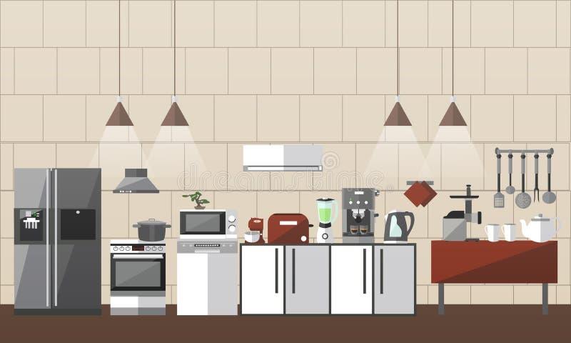 Современный комплект интерьера кухни Иллюстрация вектора в плоском дизайне стиля конструируйте иконы элементов Мебель комнаты бесплатная иллюстрация