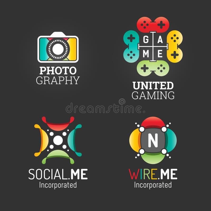 Современный комплект логотипа Шаблон сети символа средств массовой информации деловой компании связи технологии Пакет элементов в иллюстрация штока