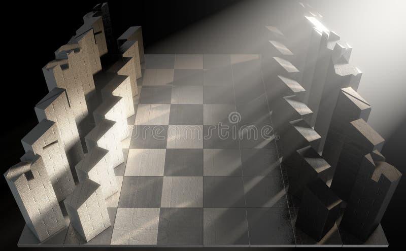 Современный комплект шахмат иллюстрация вектора