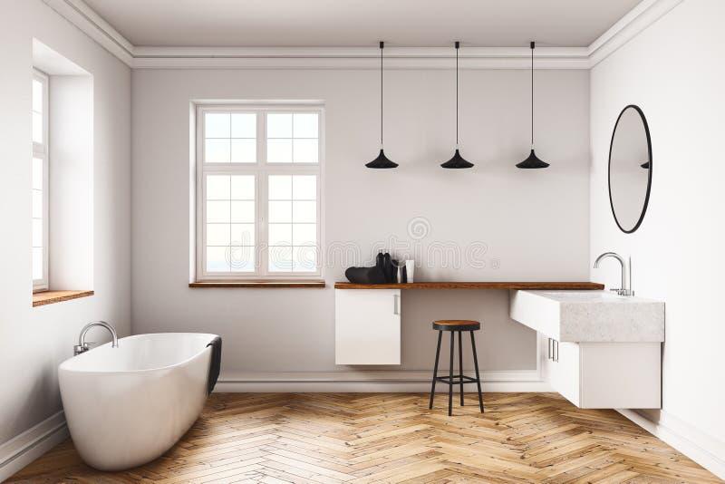 Современный конкретный интерьер ванной комнаты иллюстрация вектора