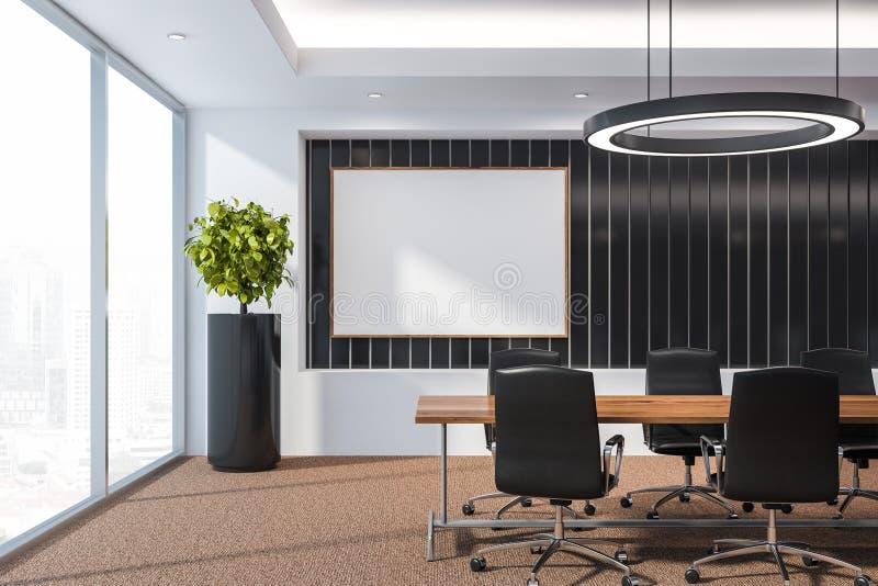 Современный конференц-зал доски с мебелью, большие окна и вид на город 3D представляют насмешливый вверх иллюстрация штока