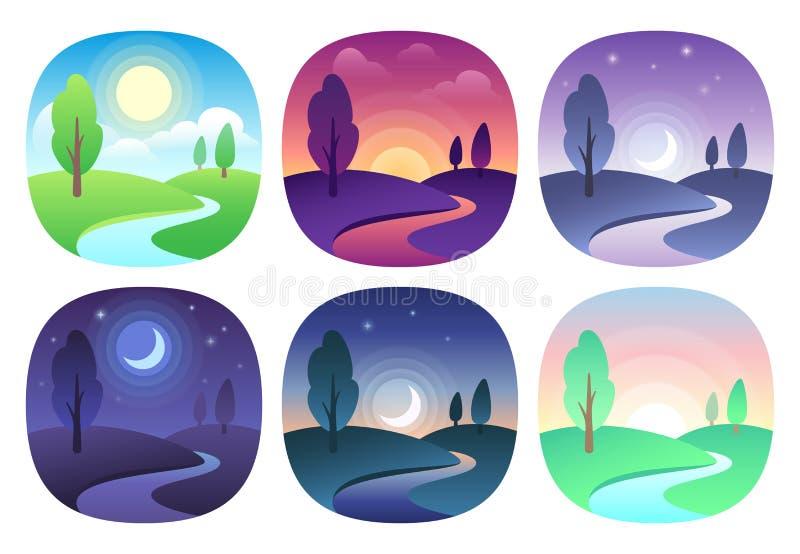 Современный красивый ландшафт с градиентами Значок восхода солнца, рассвета, утра, дня, полдня, захода солнца, сумрака и ночи Вре иллюстрация вектора