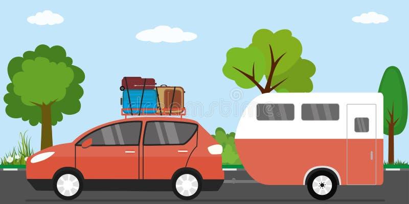 Современный красный автомобиль с багажом на крыше и караване иллюстрация вектора