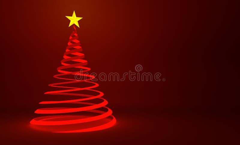 Современный красный дизайн рождественской елки ленты с звездой золота иллюстрация штока