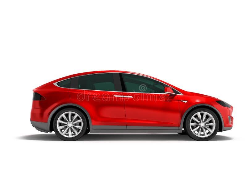 Современный красный минифургон электрического автомобиля на стороне 3d представляет на белом backg стоковое изображение