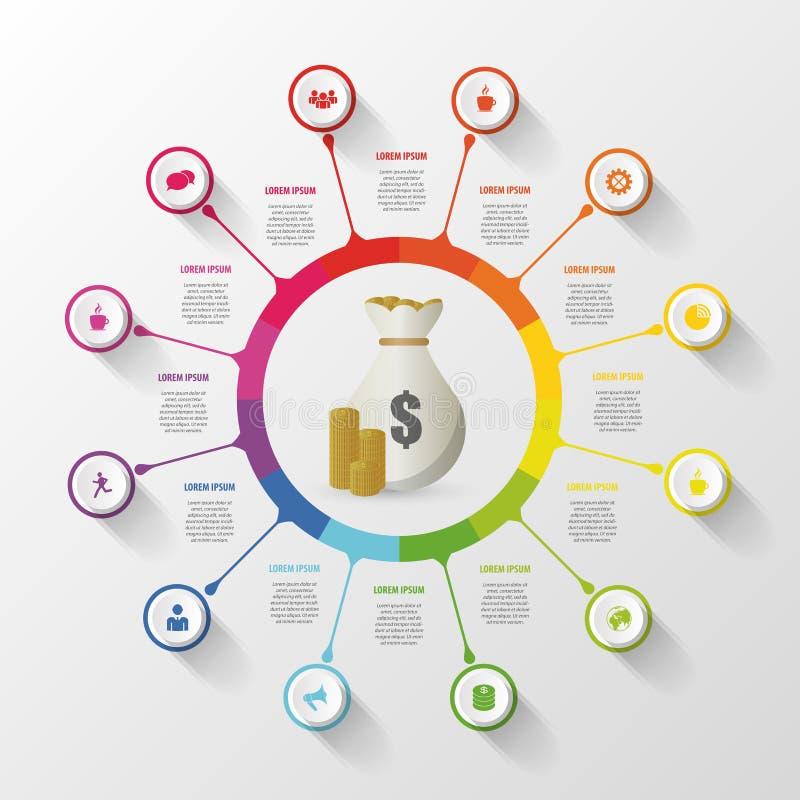 Современный круг infographics дела также вектор иллюстрации притяжки corel бесплатная иллюстрация